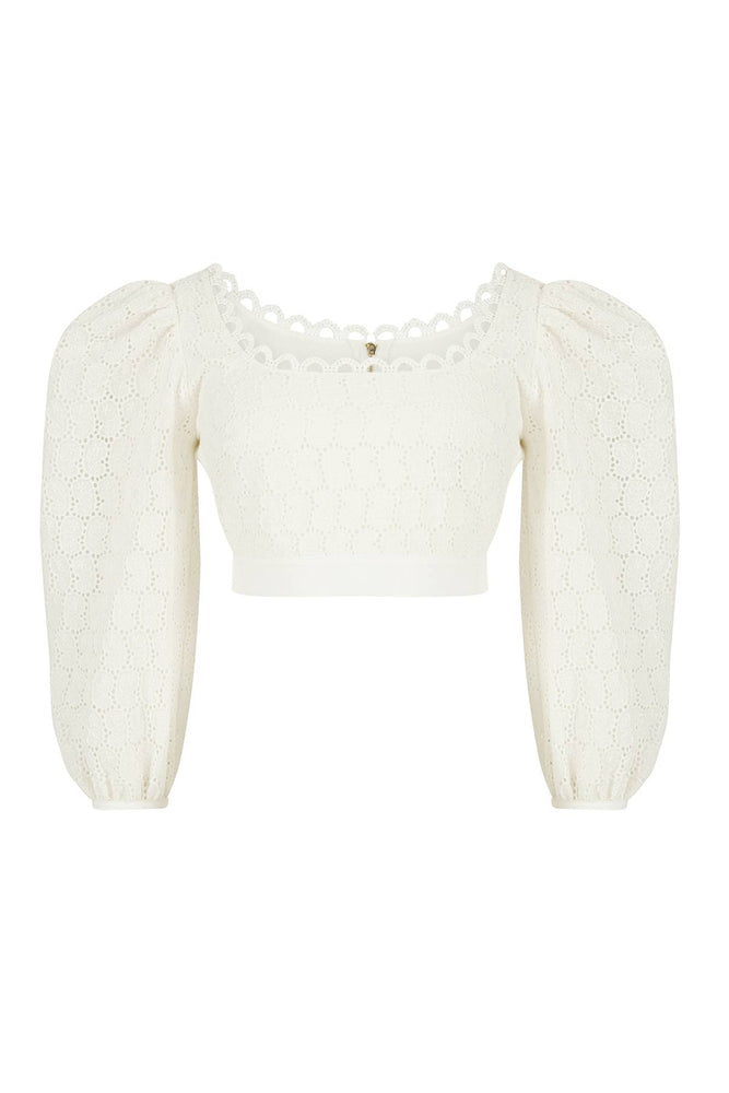 Square Collar Embroidered Blouse White Aisa
