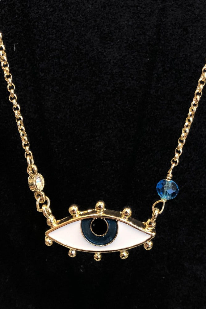 Mysabella Gold stone Necklace evil eye