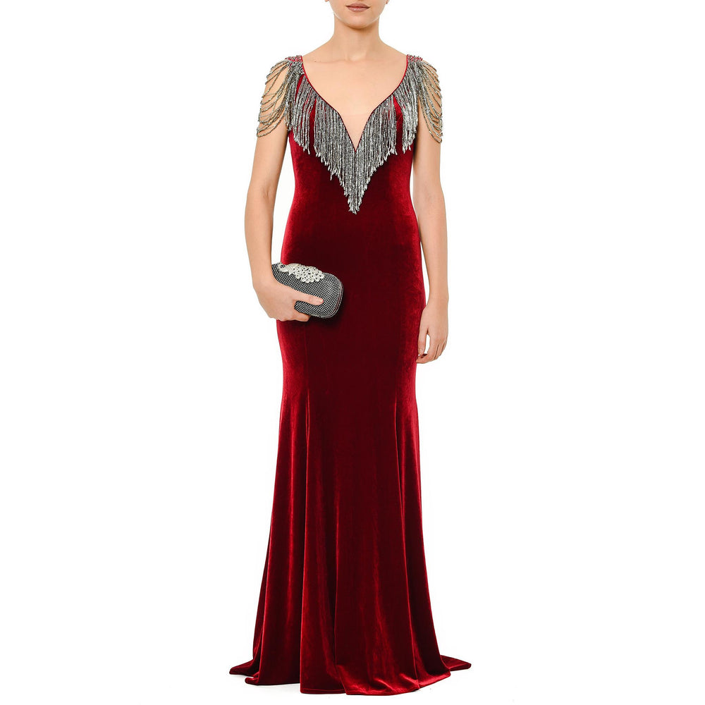 Red Velvet Gown Burgundy