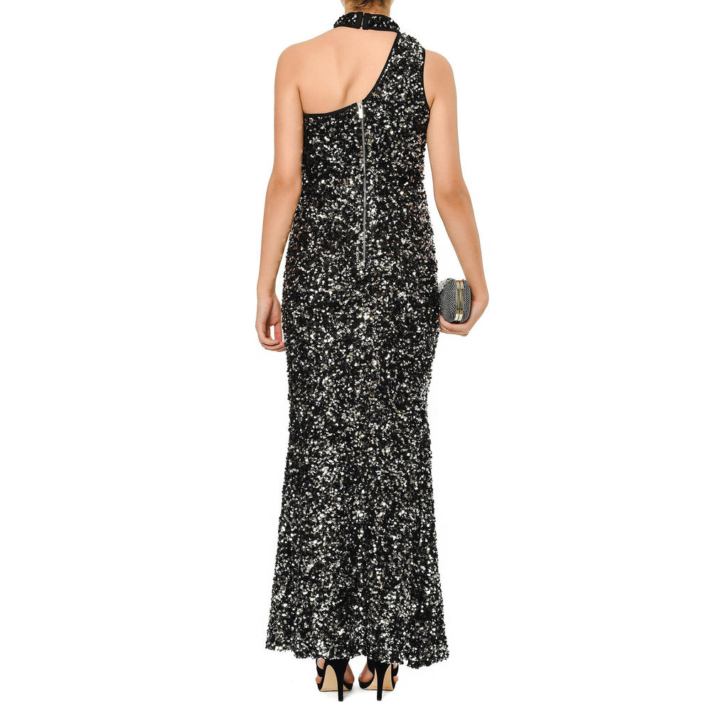 Mysabella Anthracite In Sparkle Neck Evening Gown