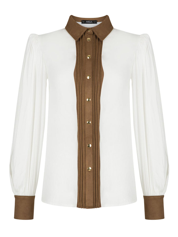Shirt with Suede Garniture Aisa White