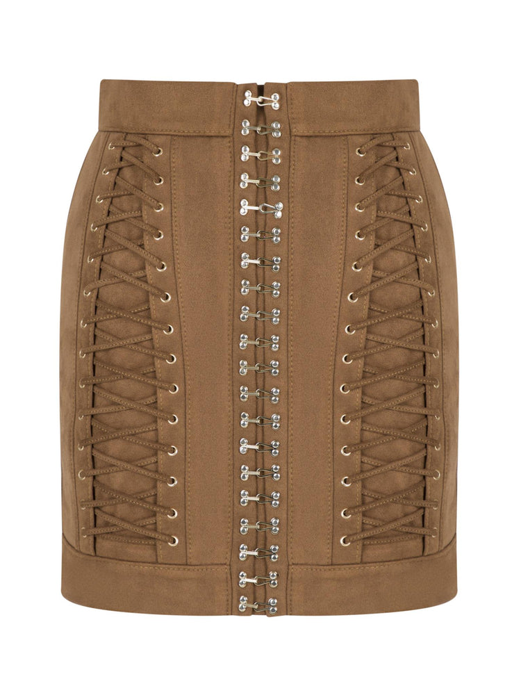 Hook and Bird Eye Detailed Suede Skirt Aisa Brown