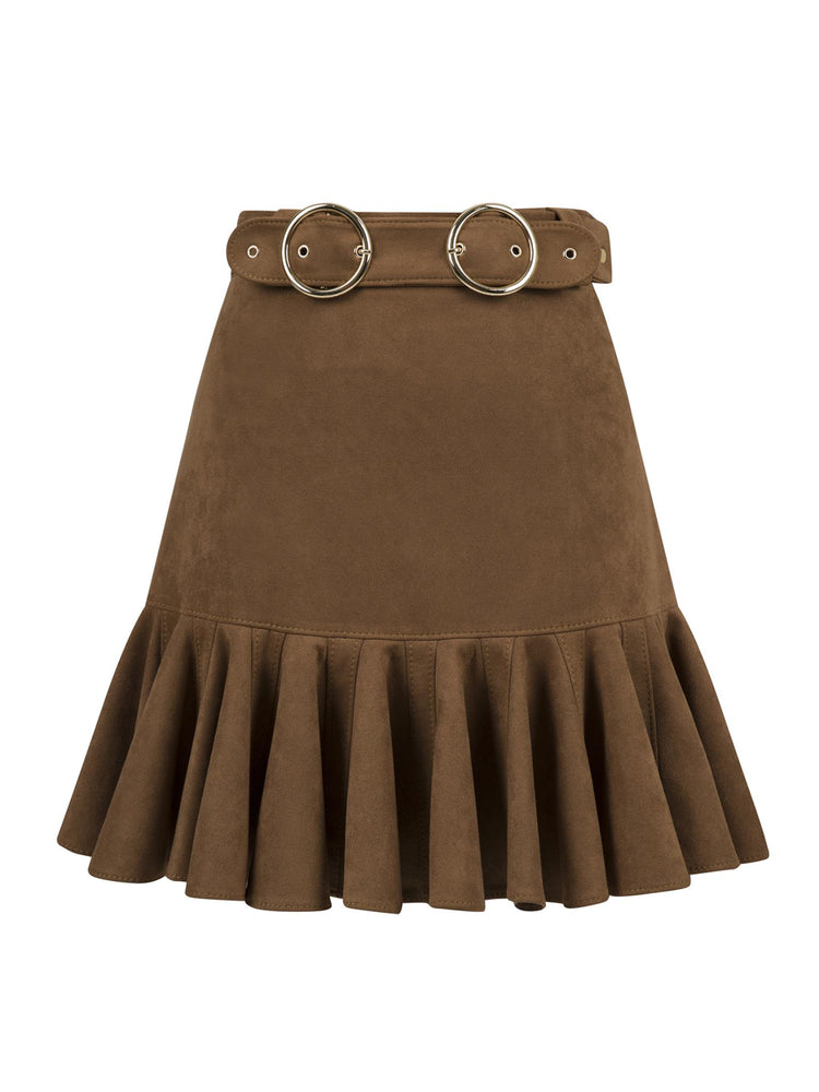 Flounce and Belt Detailed Suede Skirt Aisa Brown