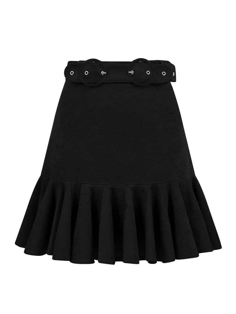 Flounce and Belt Detailed Suede Skirt Aisa Black