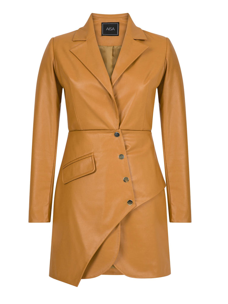 Asymmetric Faux (Artificial) Leather Jacket Dress Aisa Brown