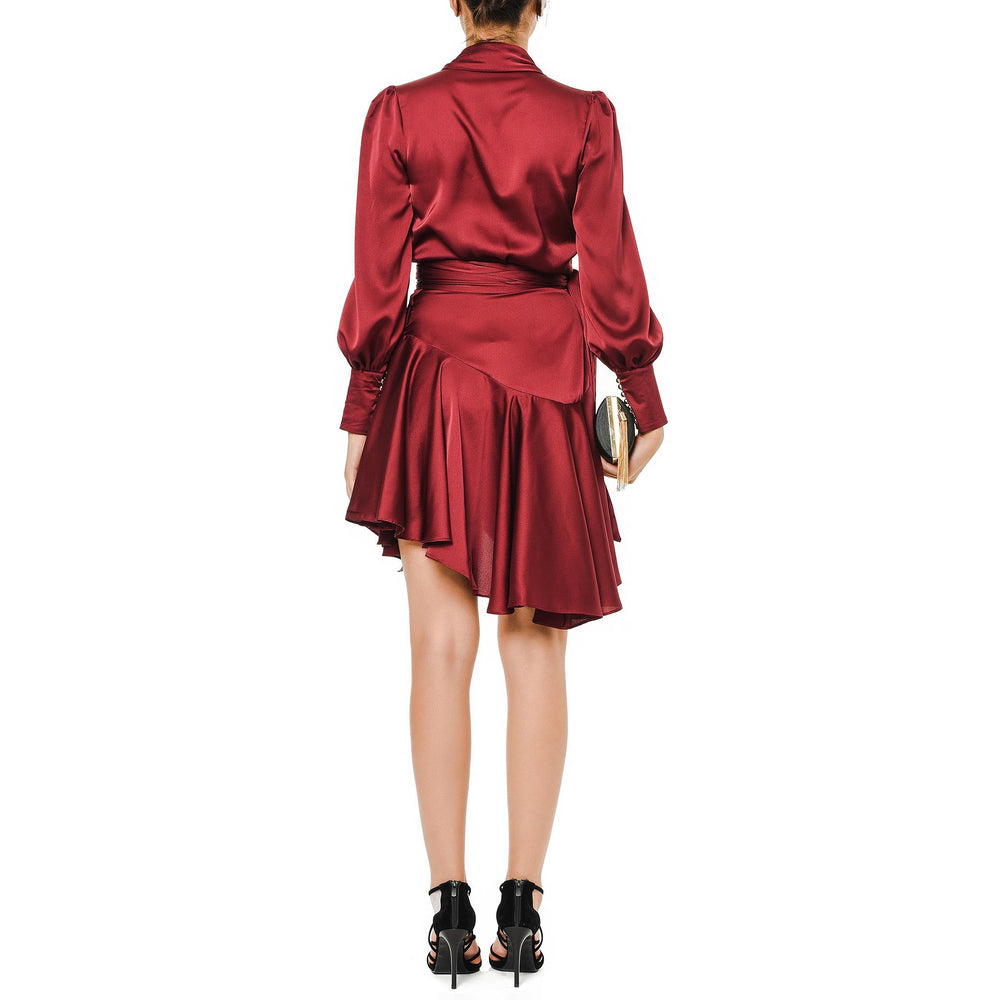 Monica Short Dress Mysabella Claret Red