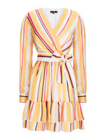Striped Wrap Dress Yellow Striped Aisa