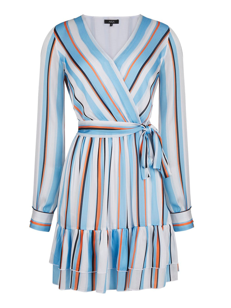 Striped Wrap Dress Blue Striped Aisa