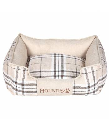 Beige Check Rectangular Dog Bed