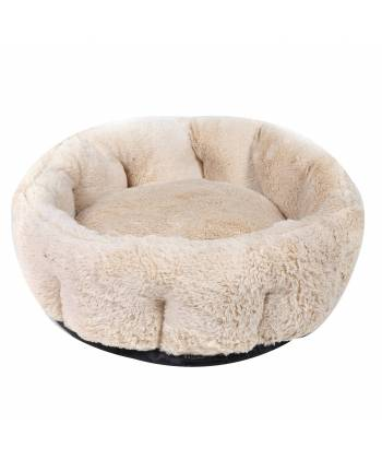 Soft Beige Circular Dog Bed