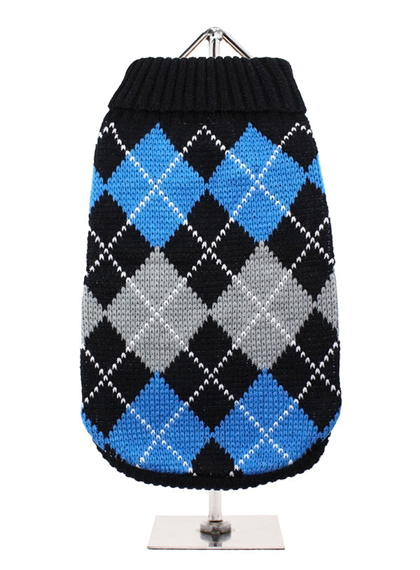 Black And Blue Argyle Dog Jumper