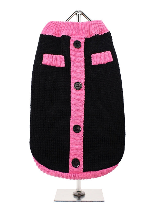 Black And Pink Cardigan Style Dog Jumper