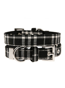 Black & White Tartan Dog Collar