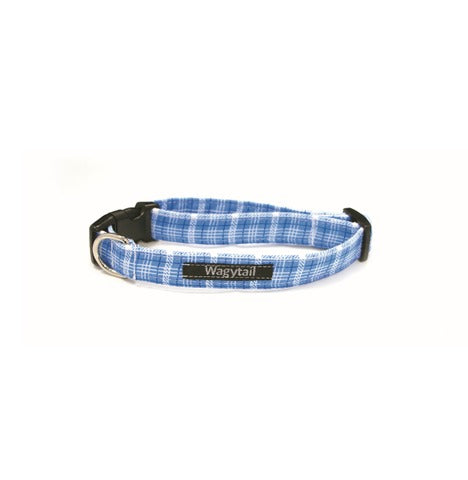 Blue Check Dog Collar