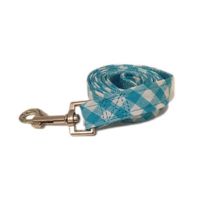 Blue Checked Dog Lead