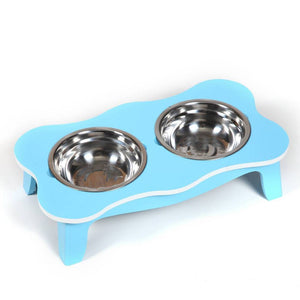 Blue Raised Wooden Twin Dog Bowl
