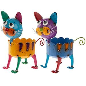 Bright Eyes Colourful Standing Metal Cat Planter