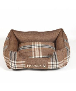 Brown Check Rectangular Dog Bed