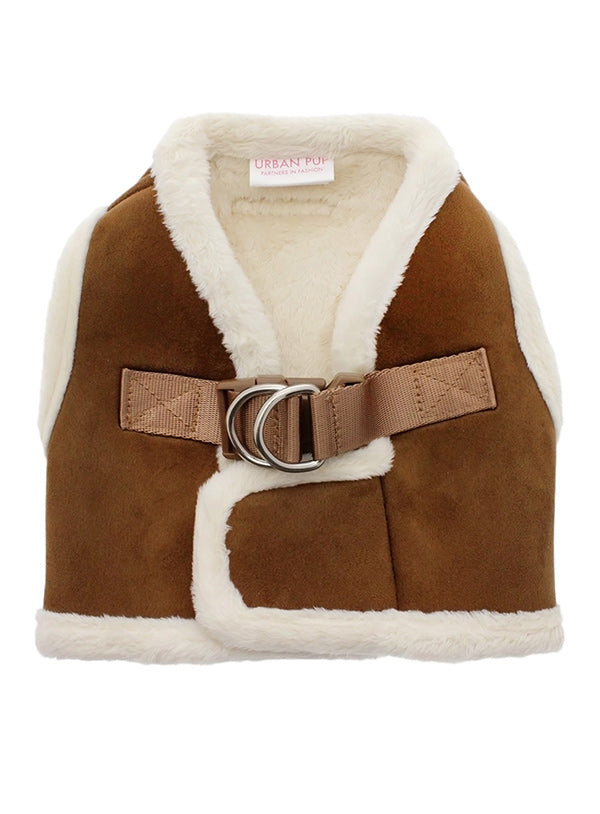 Brown & Cream Faux Shearling Dog Harness