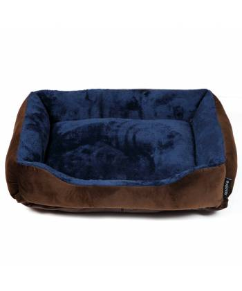 Brown & Navy Padded Dog Bed