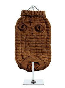 Brown Waffle Textured Knitted Dog Jumper