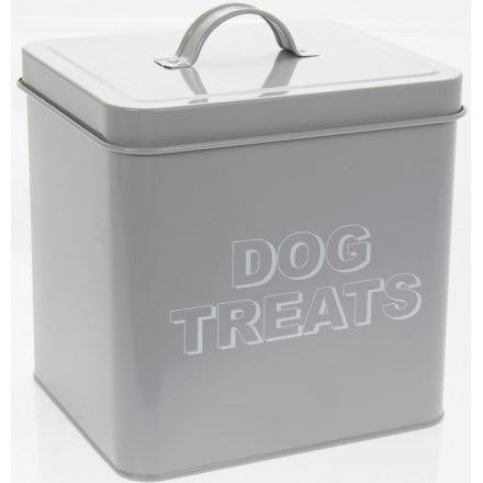 Grey Dog Treat Storage Tin