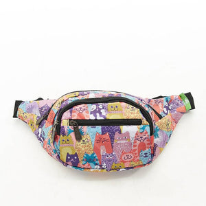 Eco Chic Lightweight Foldable Bum Bag - Cats Multi