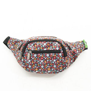 Eco Chic Lightweight Foldable Bum Bag - Black Ditsy