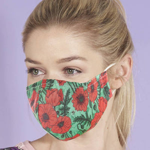 Eco Chic Reusable Face Cover - Green Poppies