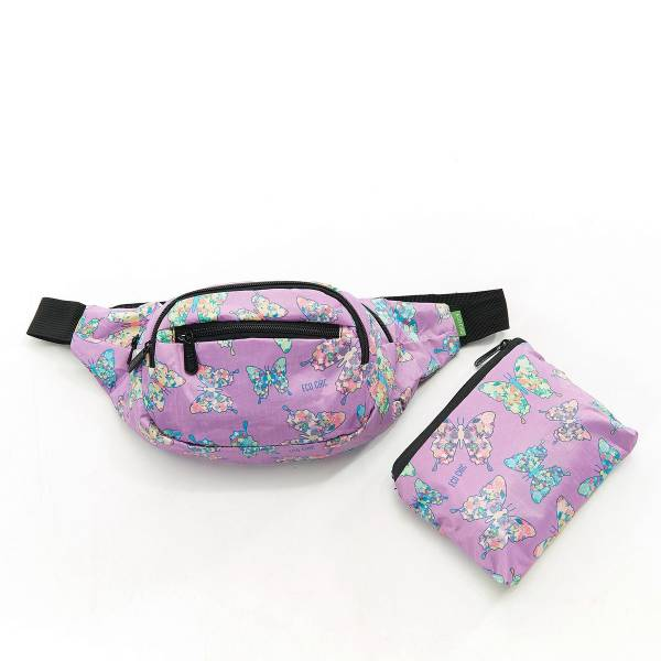 Eco Chic Lilac Butterfly Print Foldable Bum Bag