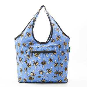 Eco Chic Lightweight Foldable Weekend Bag - Blue Bees