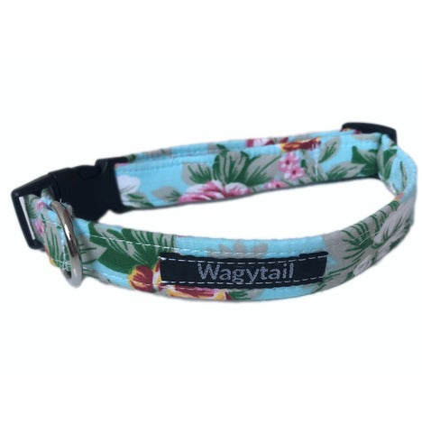 Blue Floral Rose Dog Collar