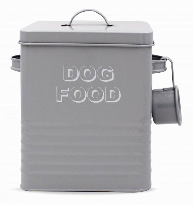 Grey Kitchen Collection Metal Dog Food Tin