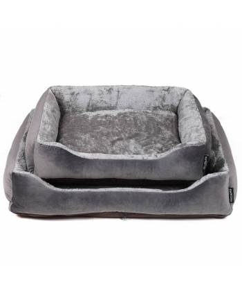 Grey Padded Dog Bed
