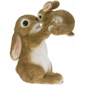 Posed Bunny And Baby Garden Ornament