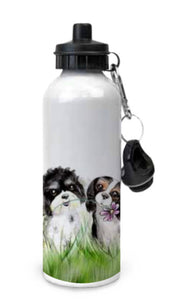 Aluminium White Water Bottle - Summer Meadow