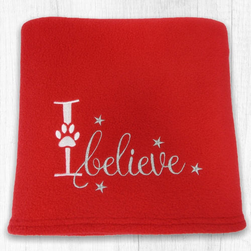 'I Believe' Christmas Dog Blanket - Red