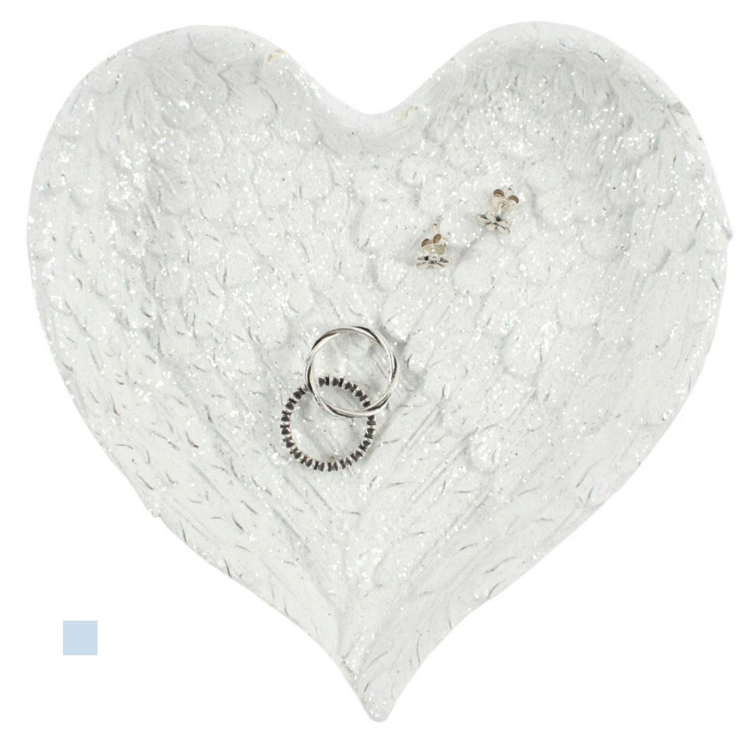 Glitter Heart Shaped Angel Wings Trinket Dish