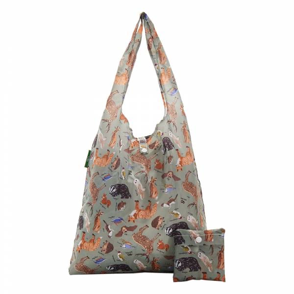 Eco Chic Lightweight Foldable Reusable Shopping Bag - Woodland