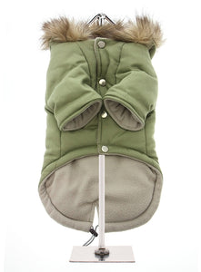 Khaki Fishtail Dog Parka Coat