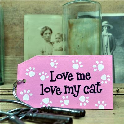 Love Me Love My Cat Wooden Keyring