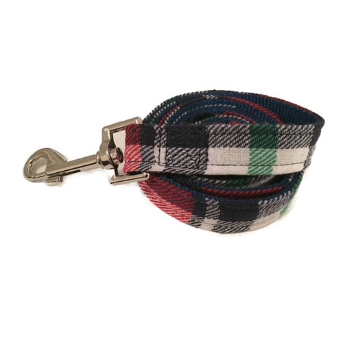 Navy & Red Plaid Dog Lead