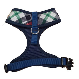 Navy & Red Plaid Dog Harness