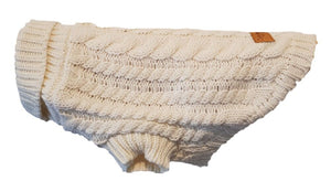 Oatmeal Chunky Cable Knit Dog Jumper