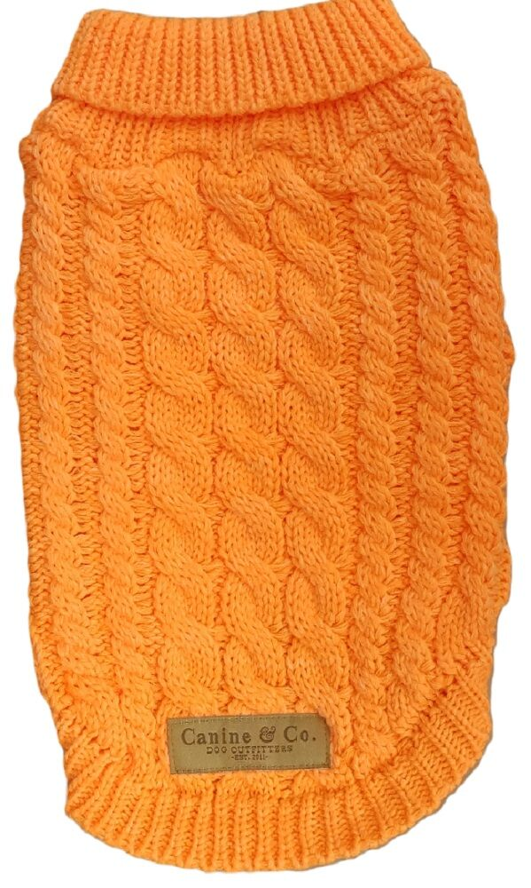 Orange Chunky Cable Knit Dog Jumper