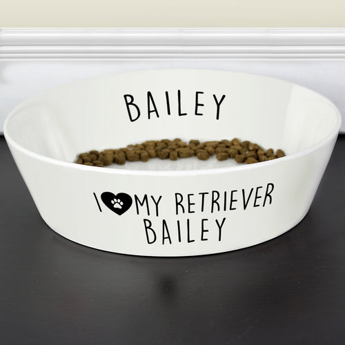 Personalised I Love My Dog Any Breed Large Bone China Pet Bowl