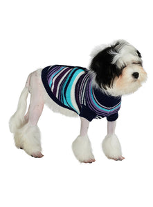 Purple Stripe Cardigan Style Dog Jumper