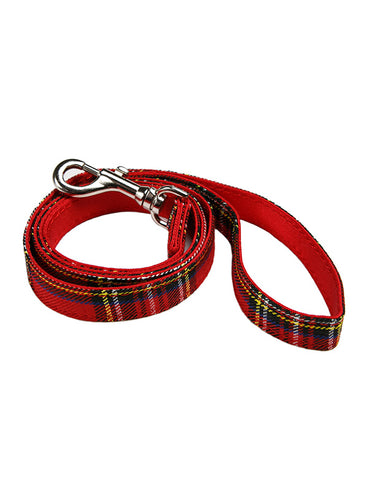 Red Tartan Dog Lead