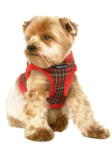 Red Tartan Step In Dog Harness