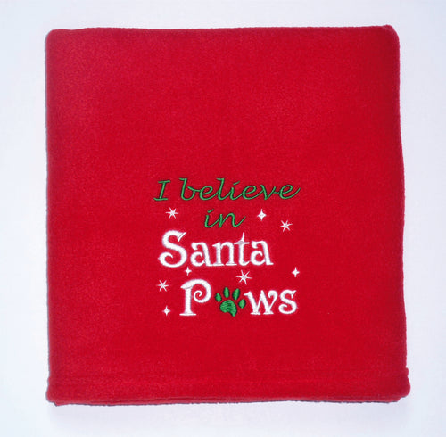 I Believe In Santa Paws Christmas Dog Blanket